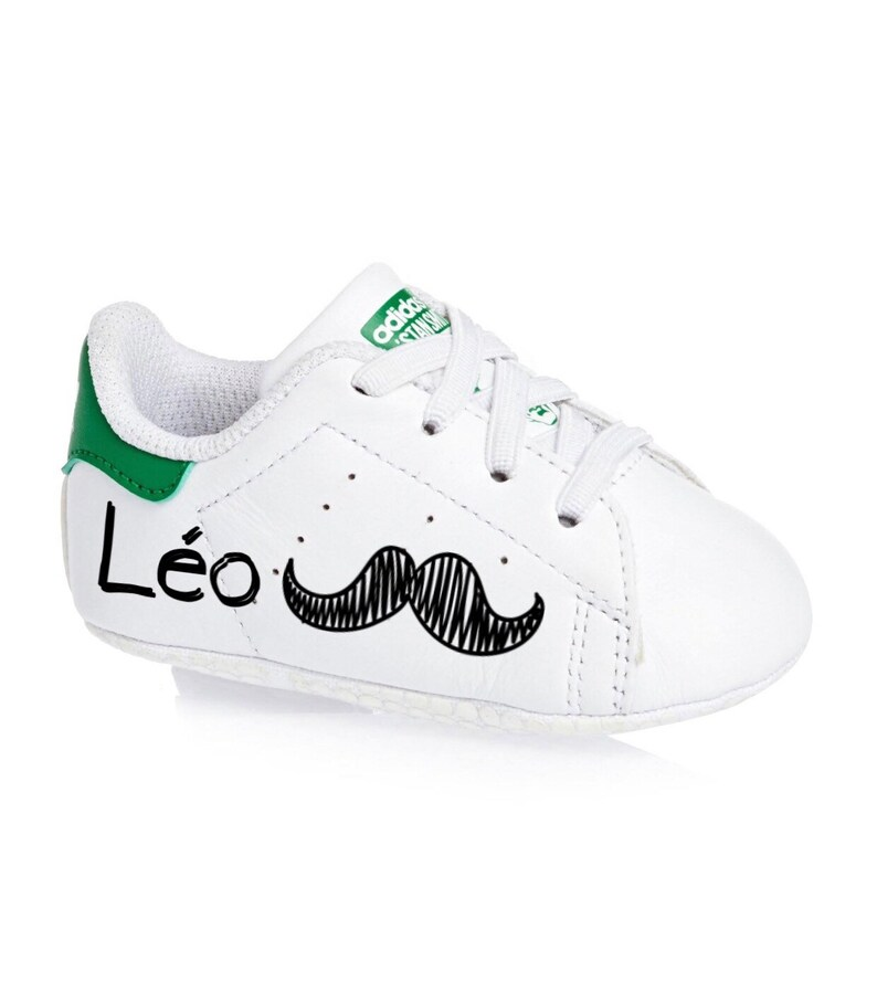 best service d5062 25ecd Baby shoes, stan smith, gift, birth, babyshower, personalized, white,  green, adidas sneakers, baby, babygirl, babyboy.