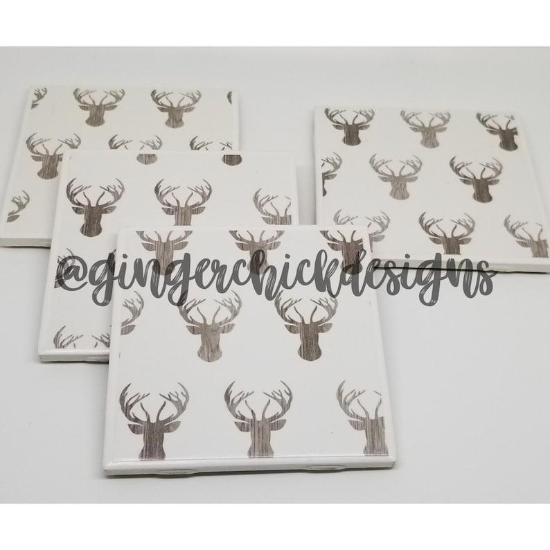 fun coasters Deer Print Ceramic Tile Coasters-ceramic coaster set tile coaster set cup coasters handmade coasters beverage coasters