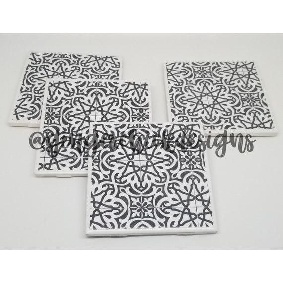 Damask Ceramic Tile Coasters Ceramic Coaster Set Tile Etsy