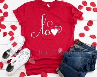 8644806ea Love Heart Script Valentines. Unisex. Bella Canvas. Soft Tee. Funny. Sassy.  Graphic. Plus size available