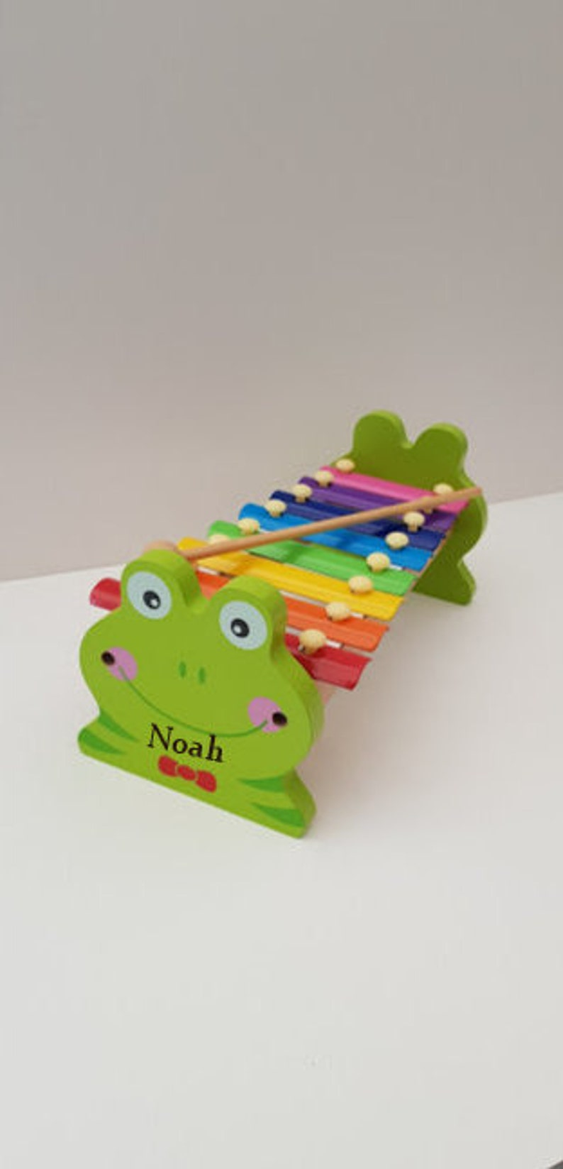 personalised wooden frog xylophone toy, music toy for toddlers, toys for  boys, toys for girls