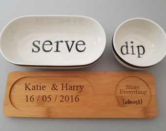 Personalised Chip and Dip set. Housewarming, Thanksgiving, gift for couples.