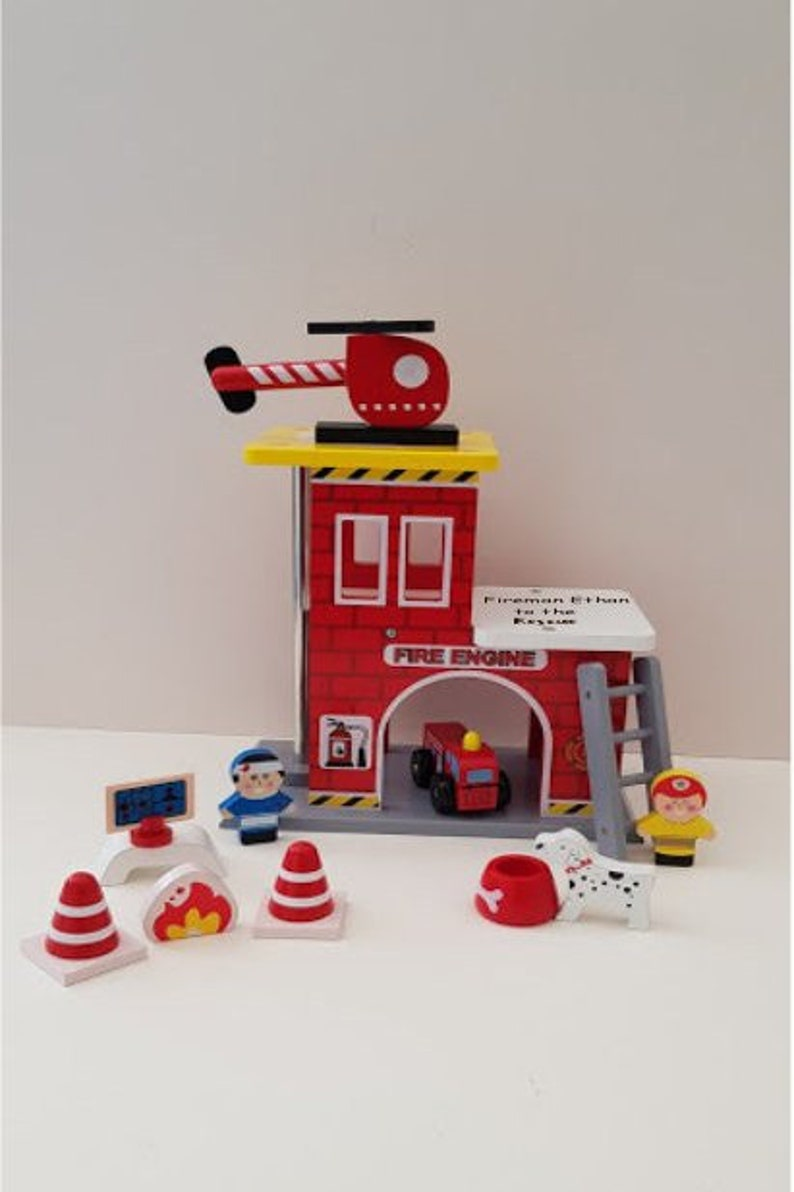 Personalised Fire Station Play Set Wooden Toys Fire Truck Fire Engine Toys For Boys Gifts For Boys