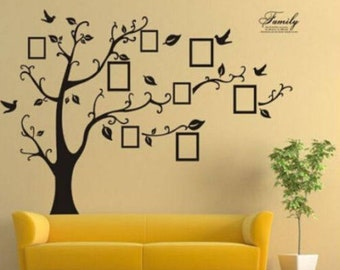 Family Tree Bird Wall Decal Sticker Large Vinyl Photo Picture Frame  Removable Black Home Art Decor Christmas Gift (US ONLY)