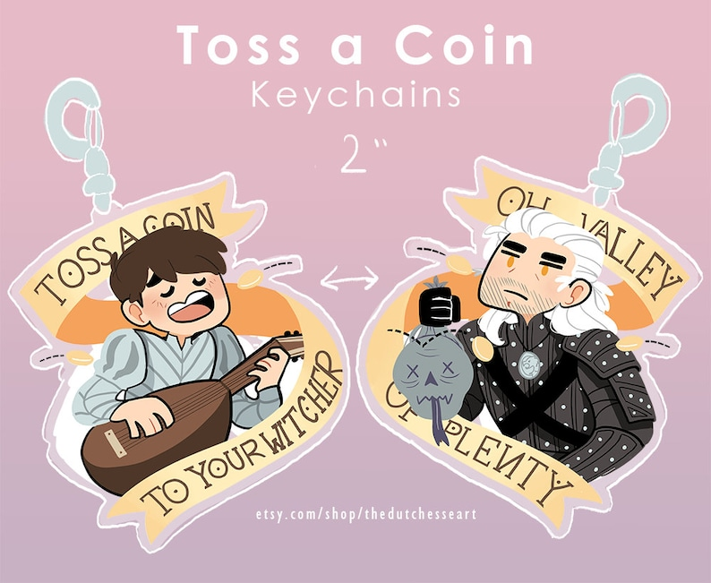 Toss A Coin to Your Witcher 2 Acrylic Charms Keychains image 0