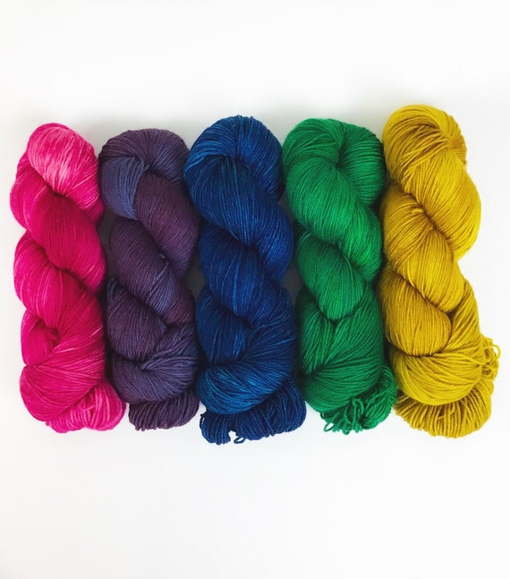 gold mustard pink purple hand dyed  fingeringsock yarn NAVELLI Tee Sweater Kit