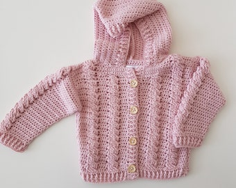 Crocheted Baby Cardigan 0-4 months.