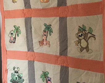 Zoo Animals Mylar Quilt, Blanket, or Throw