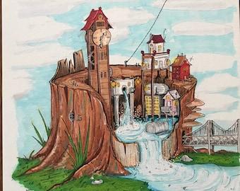 Tree Stump Village - Illustration
