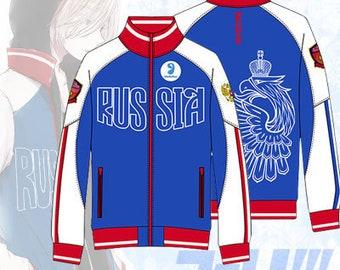 Yuri Plisetsky Jacket On Ice Mila Costume Halloween Cosplay Anime Coat Russia