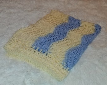 254 Baby Boy Afghan - 30x40 Blue and Yellow