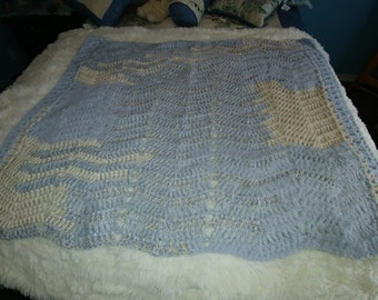 259 - Small Boy Cozy Off White and Blue Afghan