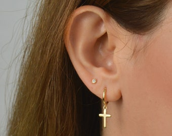 Cross hoop earrings, gold cross earrings, Gold hoop earrings, hoop earrings, Minimalist earrings, Small hoops, Huggie earrings, Hoop earring