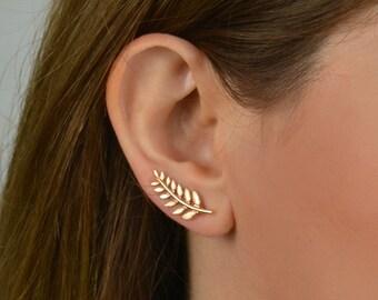 Ear climbers, leaf ear climber, ear crawlers, gold leaf earrings, ear climber leaf, ear climber earrings, ear climber gold, leaf earrings
