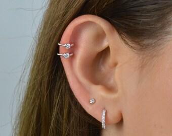 Huggie ear cuff, Cz ear cuff, Beaded Cartilage Cuff, ear cuff, gold ear cuff, silver ear cuff, minimal ear cuff, dainty ear cuff, delicate