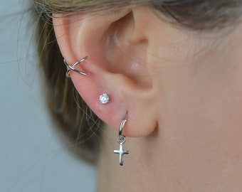 Cross hoops earrings \u2022 Cross earrings \u2022 Huggie hoop earrings \u2022 man cross earrings \u2022 cross hoops \u2022 small cross earring \u2022 hoop for man \u2022 GIFT