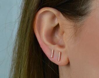Bar Earrings, Simple stud earrings, Simple gold bar earrings, Line earrings, rose Gold bar earrings, Dainty gold studs, Minimalist Earrings