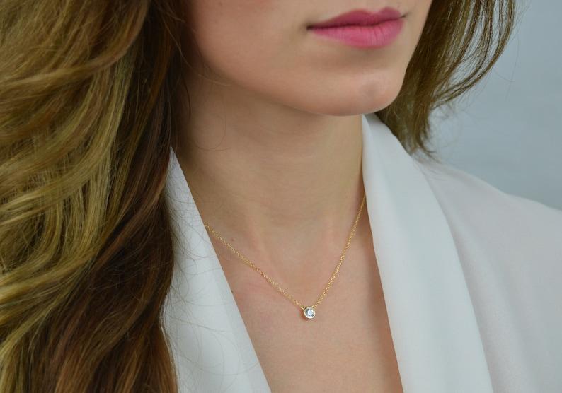 dainty CZ Solitaire Necklace Tiny Diamond necklace layering necklace Dainty Gold Necklace delicate necklace cz minimalist gold necklace