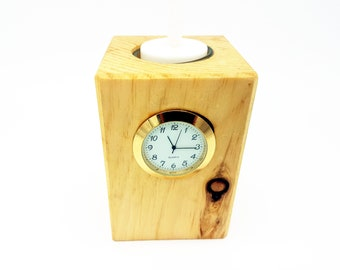 Stone Pine deco for the office or home - including quartz clock and LED tealight - fancy craft