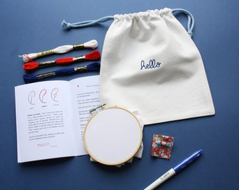 Embroidery kit - Learn to embroider words - chainette point - beginner embroidery - DIY kit - DIY gift