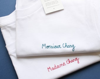 Custom handmade embroidered T-shirt - quality personalized gift - for men and women.