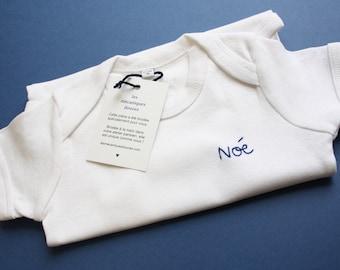 Custom embroidered baby body - organic cotton - birth gift