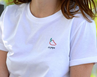 Pepper it stings T-shirt - organic cotton - hand embroidery