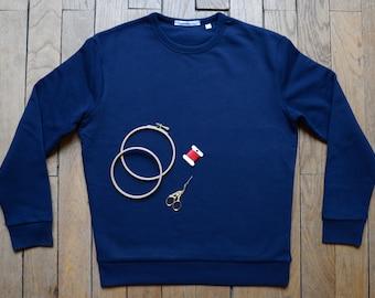 Men's sweatshirt - custom woman embroidered hand organic cotton