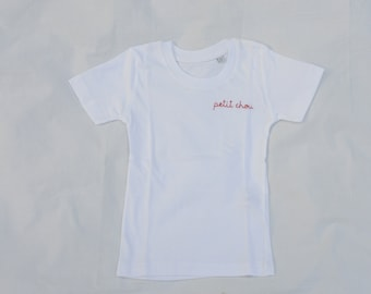 Personalised hand embroidered children's t-shirt - personalized gift - organic cotton, hand embroidery