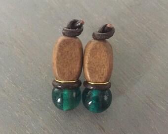 Stacked Bead Earrings | Brown & Teal Earrings | Leather Earrings | Boho Drop Earrings