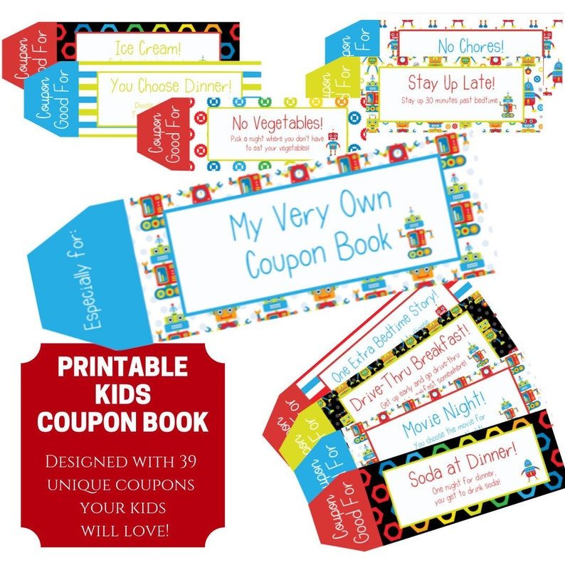 picture regarding Printable Coupons for Kids called Small children Coupon ebook, 39 Printable Coupon codes for young children, Presents for youngsters, Presents for boys, Stocking Stuffers, Closing Moment Reward for children, Electronic