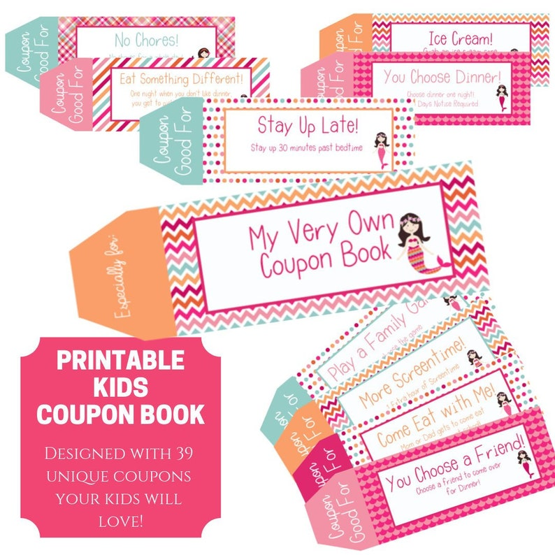 photograph relating to Printable Coupons for Kids called Young children Coupon e-book, 39 Printable Discount coupons for young children, Items for small children, Items for ladies, Stocking Stuffers, Previous Second Reward for children, Electronic