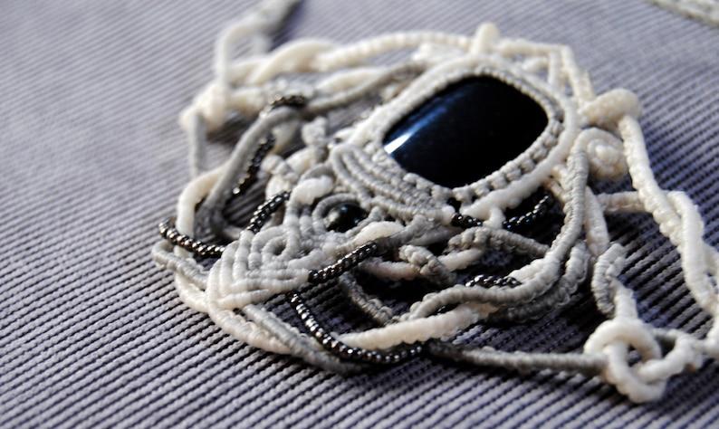Onyx Macrame Makrame Necklace Cotton Thread