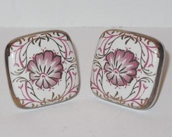 Decorative Furniture Pulls Square Ceramic Flower Pulls Gold Accent Knob
