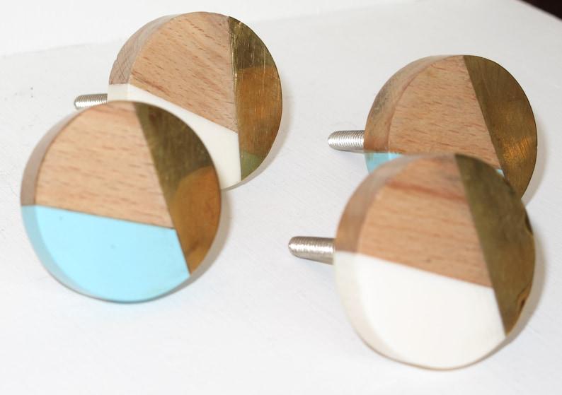 Blue Resin Wood Gold Knob White Resin Wood Gold Decorative Knob Dresser Pull