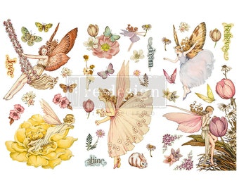 """Fairy Flowers - reDesign Image Transfer - Furniture Decor Transfer - rub on image transfer - 3 sheets 6"""" x 12"""" each sheet"""