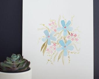 Blue Bouquet Watercolor