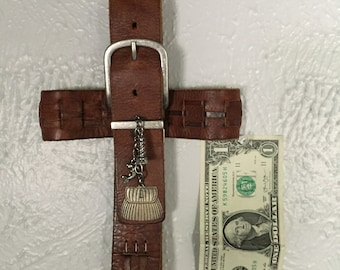 Unique leather handmade cross with fishing embellishments