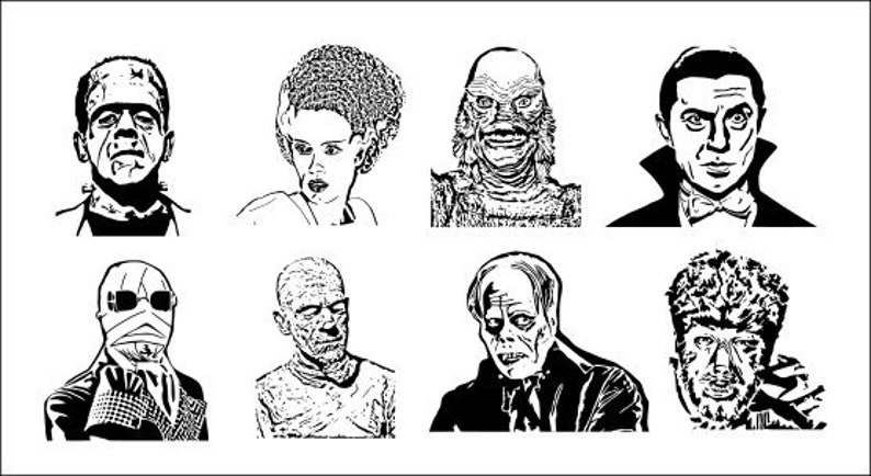 Classic Horror Monsters - set of 8 scroll saw patterns