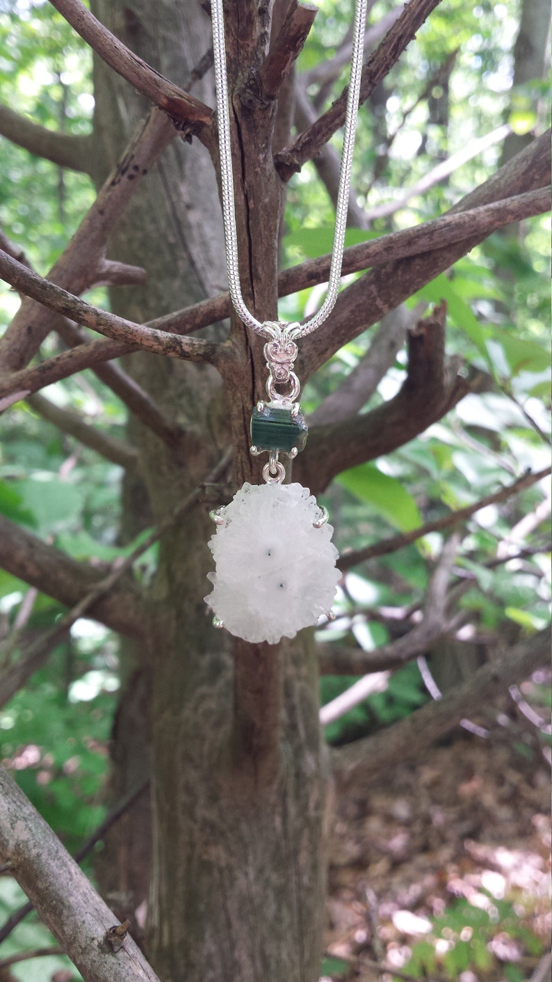 Powerful Enchanting Solar Eye Quartz Green Tourmaline Sterling Silver Pendant Necklace