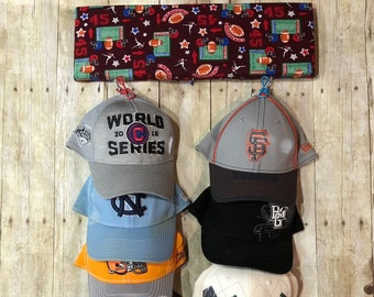Hat Rack with Fabric print and capacity for 12 Hats- Cap Rack - Sport Hat Rack - Hat Organizer - Hat Holder - Cap Holder - Sp