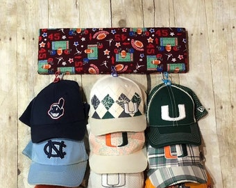 Kids Hat Rack with Fabric print (FREE SHIPPING!!!)   capacity for 18 Hats -  Sport Hat Rack - Hat Organizer - Cap Holder - Sport Hat Holder 4228d468bb0d