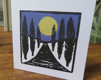 "original hand printed card "" pathway to the moon """