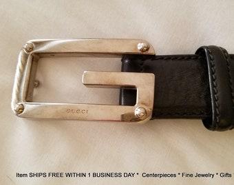 4a86d25163a GUCCI Authentic Black Leather Women s Belt Size 36 Large Silvertone Buckle