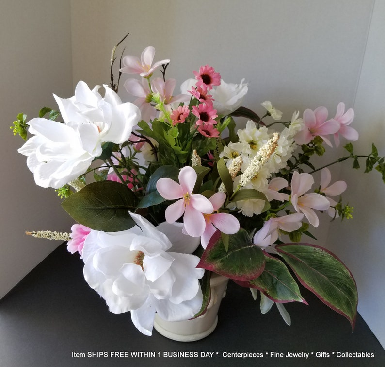 19 Sale Flower Arrangement Artificial Magnolia Silk Etsy