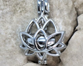 Lotus Flower Personalized Urn Necklace, Memorial Keepsake Pendant for Ashes, Cremation Jewelry Silver with Barrel Urn and Stamp Tag Initial