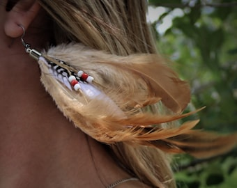 Natural Feather Earrings/Brown Feather Earrings/White Feather Earrings/Boho Feather Earrings/Feather Hook Earrings/long Feather Earrings