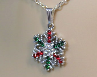 Silver Snowflake Winter Holiday Dangle Pendant Necklace with White Green and Red Crystals, Festive and Fun Christmas Jewelry, gift for Her