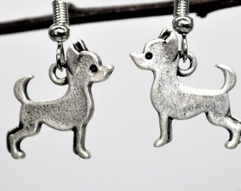 Dog Lover Dangle Earrings, Chihuahua Dog Earrings, Antique Silver Pet Breed Jewelry, Dog Lover Present, Gift for her
