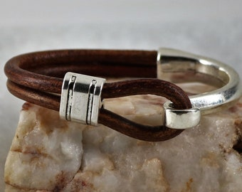 Half Cuff leather Bracelet, Silver Hook Bracelet, Leather Hook Bracelet, Gift for Him, Gift for Her,  Custom Size, Men Bracelet, Christmas